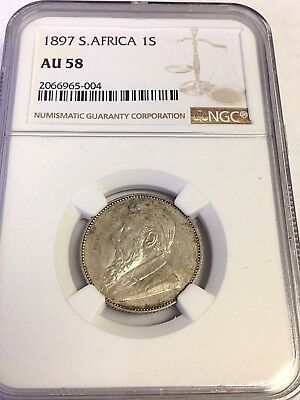 AU-58 1897 SOUTH AFRICA 1 SHILLING, ZAR, silver coin, NGC