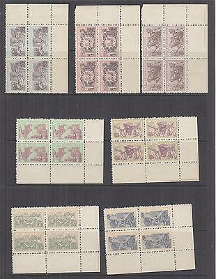 HAVANA, 1963 Rebel Day set of 7, corner blocks of 4, mint no gum./mnh.