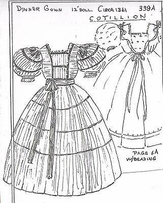 "12""antique French Fashion Lady Doll@1861 Cotillion Dinner Dress&undies Pattern"