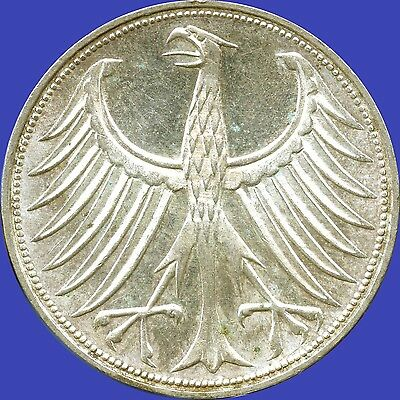 1970 'G' Germany 5 Mark Silver Coin (11.2 grams .625 Silver)