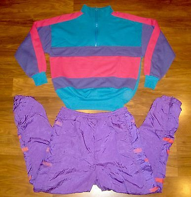 Vtg 80s Womens Small COLOR BLOCK neon Sweatshirt TRACK SUIT Jacket Coat Pants S