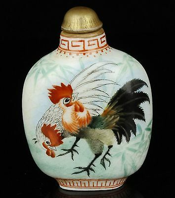 China Collectible Old Handwork Painting Rooster Porcelain Snuff Bottle