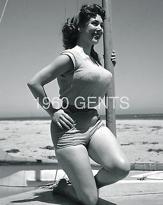 1950s NUDE 8X10 PHOTO BUSTY BIG BREASTS PINUP MEG MYLES FROM ORIGINAL NEG RARE-5