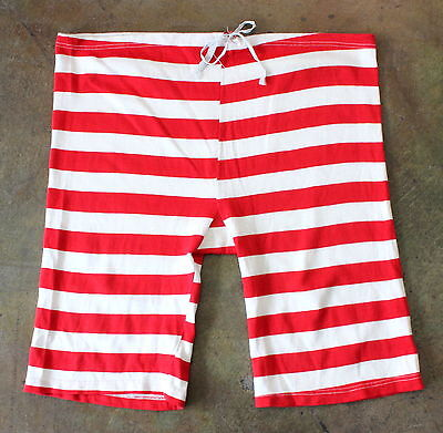 vintage 50s 60s RED & WHITE STRIPED rayon SWIM TRUNKS SHORTS 20s style