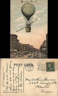 1909 Couple in Hot Air Balloon Above Canal Street,New Orleans,La. Postcard