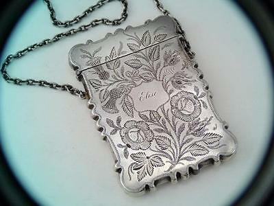 Antique Early 1800s Sterling Silver Card Case Scottish Thistle Engraved ELISE