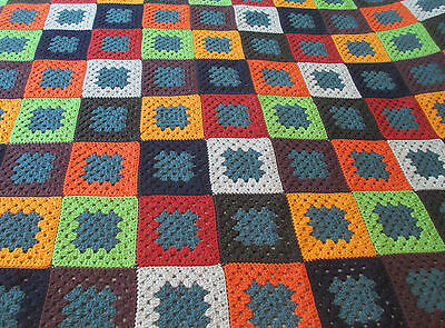 "Hand Made Crocheted Queen Sized Afghan Granny Squares Multi-Colored 75"" X 64"""