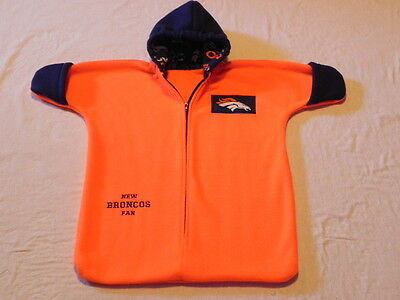 NHM - NFL - DENVER BRONCOS orange FLEECE BABY BUNTING COAT Newborn to 6 Months