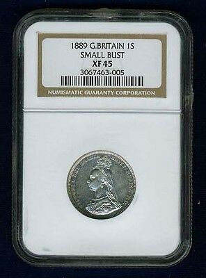 England Victoria 1889 1 Shilling Silver Coin Small Bust Type, Certified Ngc Xf45