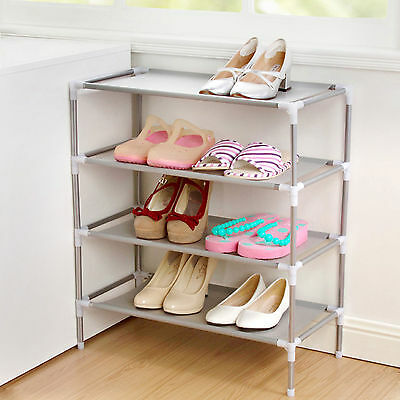 4 Tier Shoe Storage Rack Stand Organizer Cabinet Shelf Easy Assemble f/ 12 Pairs