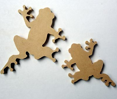Folk Art Wooden Shape - 2 Frog Shapes - Mum & Baby
