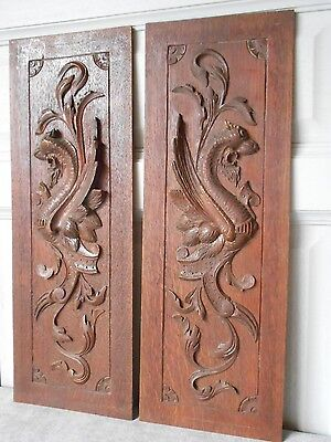 Pair of  French Antique OAKWOOD PANELS BOARDS  PLAQUES  w/ GRIFFINS