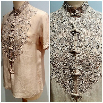 Vintage 1940s 50s WWII Dusky Pink Floral Embroidered Silk Blouse Shirt, 10