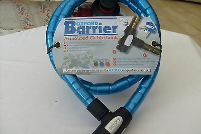 Oxford Barrier Bicycle Bike Cycle Armoured Coil Spiral Cable Lock Blue 1.5m