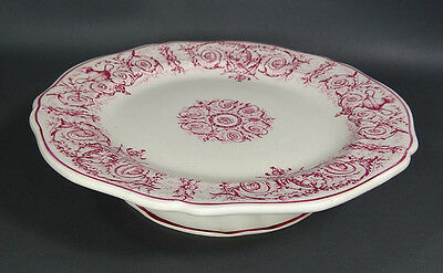 1870 French Gien Faience Ceramic Cake Pie Plate Platter Tray Dish Pedestal Stand