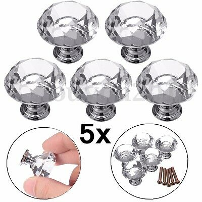 5x 30mm Transparent Clear Crystal Glass Door Knobs Drawer Cabinet Kitchen Handle