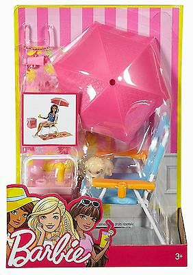 Barbie Outdoor Accessory Furniture - Beach Picnic Playset - DVX49 - NEW