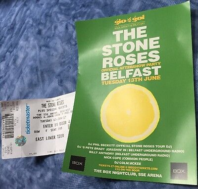 The Stone Roses  - unused concert ticket, And Flyer, Belfast - June 2017