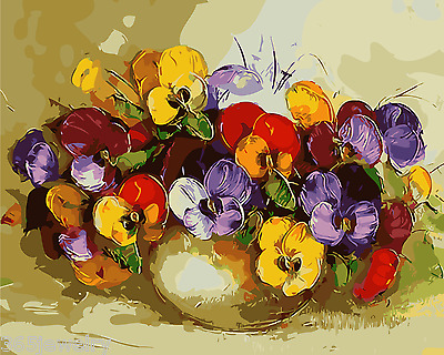 Framed Painting by Number Kit Pansy A Vase of Flowers Floral Ikebana DIY MB7015