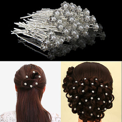 40pcs Crystal Diamante Rhinestone Flower Pearl Hair Pins Slide Clip Grips Bridal