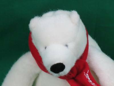2007 Best Play Red Scarf White Polar Bear Coca-Cola Plush Stuffed Animal Toy