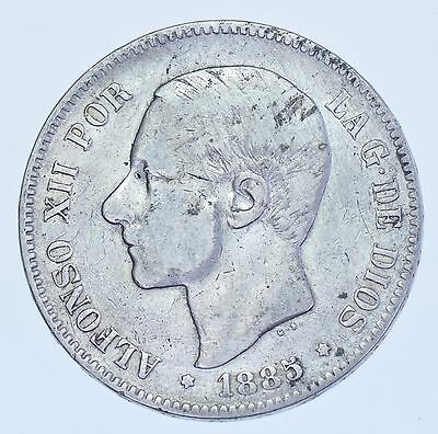Spain, Alfonso Xii, 5 Pesetas Ms-M 1885 (86) Silver Coin Vf
