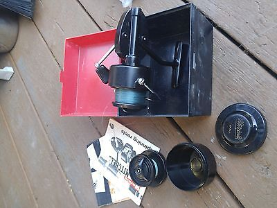 vintage mitchell garcia 300 reel with extra spool , box and papers