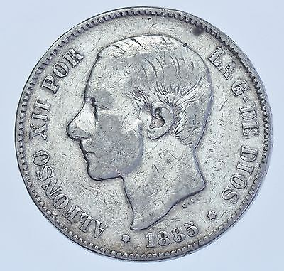 Spain, Alfonso Xii, 5 Pesetas Ms-M 1885 (87) Silver Coin Vf