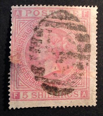 JUN 164 Great Britain - Victoria 5 Shillings Plate #1 SG127 USED stamp - £550