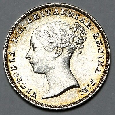 1840 Queen Victoria Great Britain Silver Groat Fourpence Four Pence 4D Coin