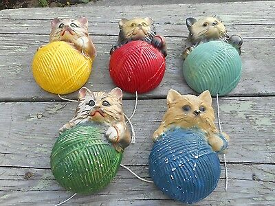 Antique Old Vintage LOT OF 5 Kitten Kitty Cat Wall Hanging String Yarn Holders