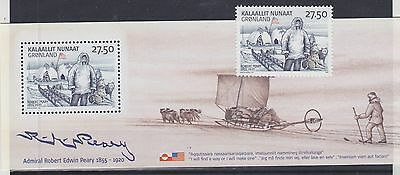 862) Greenland - Gronland 2005 - Arctic Expedition - Robert Peary Mnh Blok+Stamp