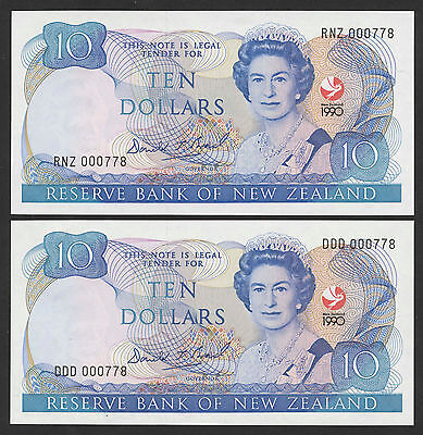 New Zealand 2 Pcs with matching low numbers 000778 1990 UNC P.176