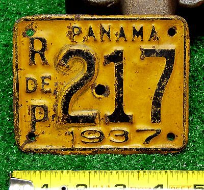 PANAMA - 1937 motorcycle license plate - all original, most likely only 1 known