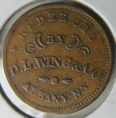 Albany New York, CWT Store Card Civil War Token, Redeemed by D.L. WING & CO; R4