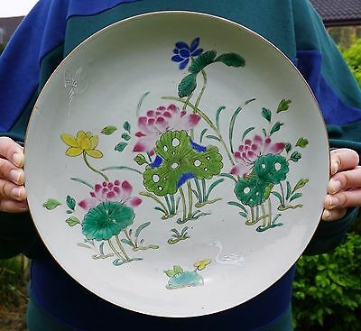 LARGE Antique Chinese Famille Rose Porcelain Duck Lotus Dish Plate Bowl 18th C