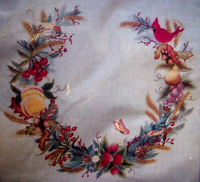 Nature's Wreath birds butterfly berries  crewel embroidery unopen kit Cathy