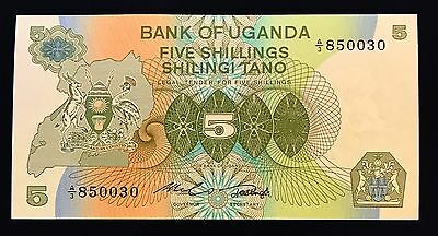 Uganda 5 shillings 1982 Coat of Arms at Left - P15 - UNC