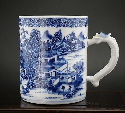 Large Antique Chinese Export Porcelain Blue and White Vase Dragon Mug Cup 18th C