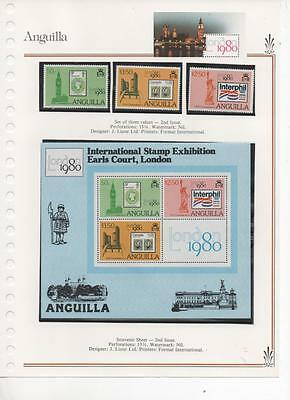 Anguilla 1980 Stamp Exhibition Miniature Sheet and set of 3 stamps MNH 2nd issue