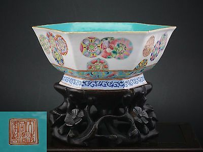 Large Antique Chinese Famille Rose Porcelain Hexagonal Bowl Wooden Stand TONGZHI