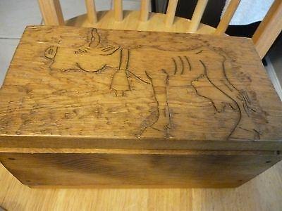 "Vintage Large Native American Wood Box Carved 6""x6""x10"" Primitive"