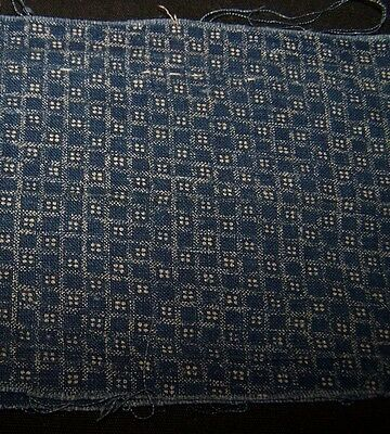 1890-1910 Pc Antique Cotton Fabric-Indigo/white Print-Stash-Repair-Restore