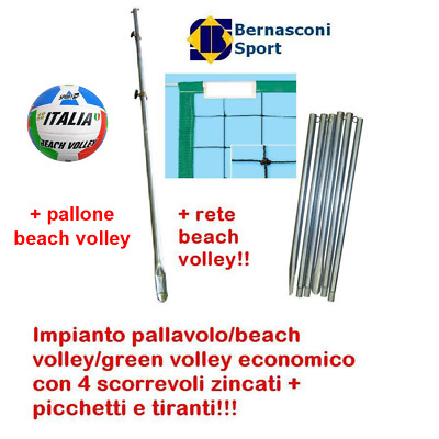 Impianto Volley/beach Volley/green Volley + 4 Scorrevoli Zincati, Rete E Pallone