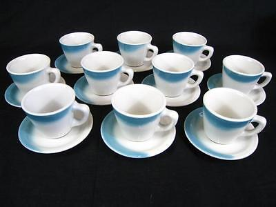 Blue & White Restaurant Ware Coffee Cups & Saucers Set of 10 - Jackson China