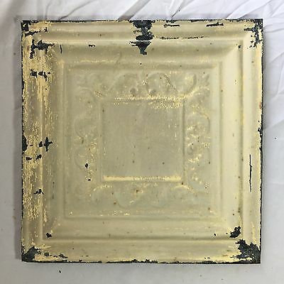 1890's 12 x 12 Antique Tin Ceiling Tile Taupe Metal Reclaimed Anniversary 381-17