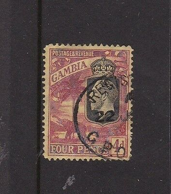 GAMBIA 1927 KGV 4d RED ON YELLOW FINE USED