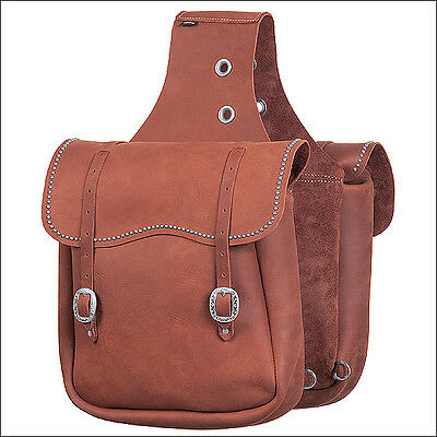 Brown Weaver Chap Leather Horse Saddle Bag With Spots Tack Western
