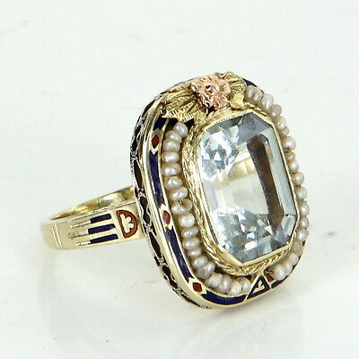 Antique Deco Enamel Ring Aquamarine Seed Pearl 14k Yellow Gold Vintage Jewelry