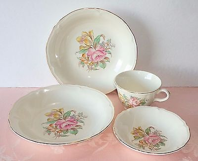 Edwin Knowles 4 Pcs Pink Rose Yellow Tulip Soup Bowls Fruit Bowl Cup KNO28